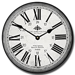 The Big Clock Store Hotel Paris Voltaire Wall Clock, Available in 8 sizes, Most Sizes Ship 2-3 days, Whisper Quiet.