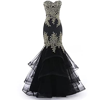 Chady Black Mermaid Prom Dresses 2018 Formal Party Gowns With Gold Appliques Strapless Dresses Evening Gowns