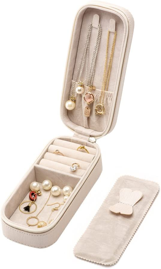 LOKHO Small Travel Home Use Jewelry Box Organizer Display Storage for Ring Earring Necklace Pearl White