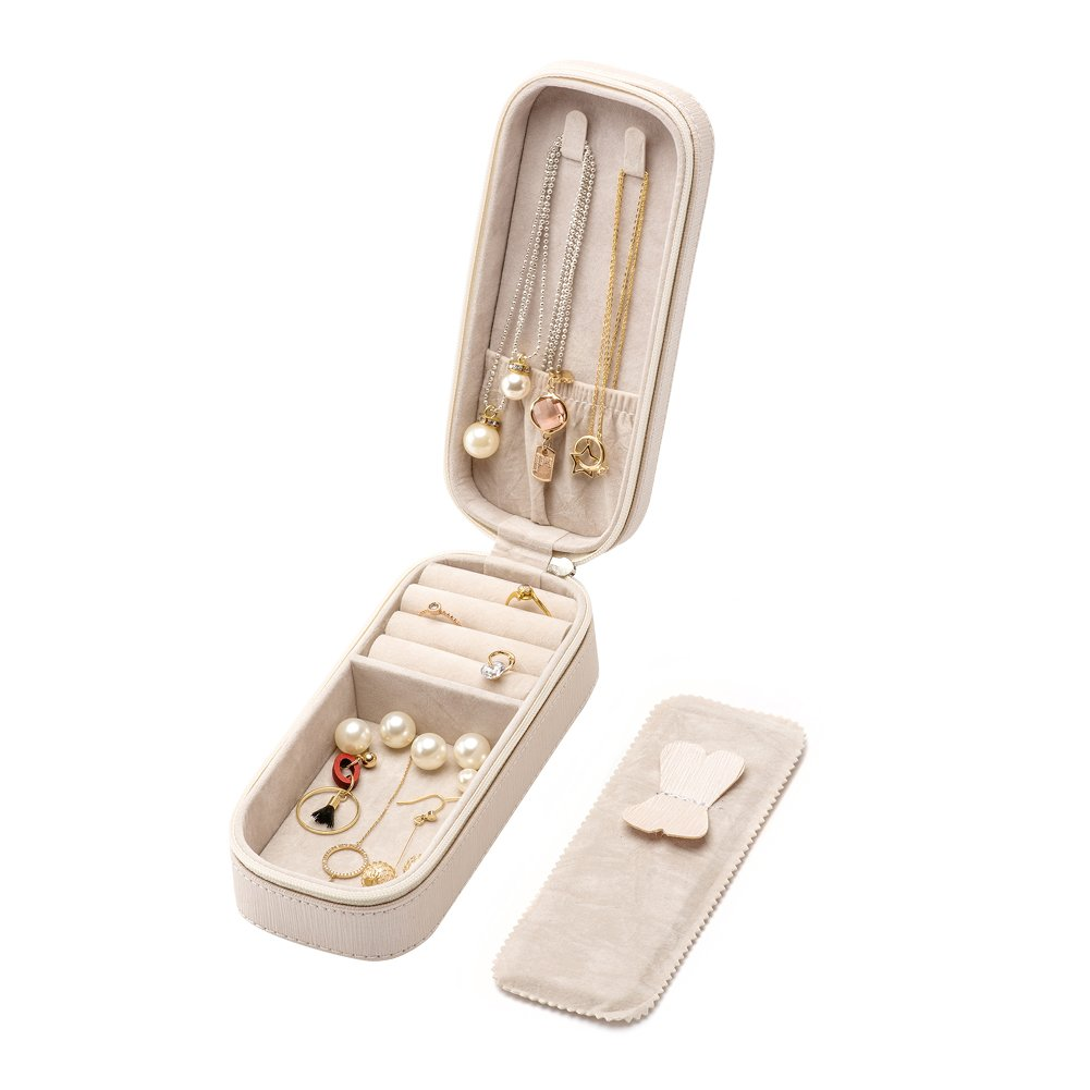 LOKHO Small Travel Home Use Jewelry Box Organizer Display Storage for Ring Earring Necklace (Pearl White)