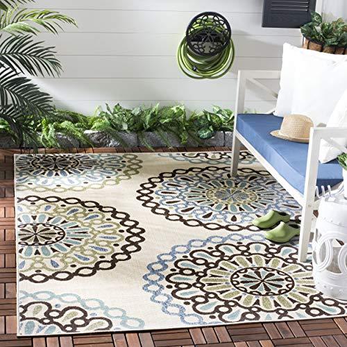 Safavieh Veranda Collection VER092-0615 Indoor/ Outdoor Cream and Blue Contemporary Area Rug (6'7