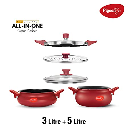 Pigeon All in One Super Cooker Value Pack   Red  3  amp; 5Ltr  Pressure Cookers