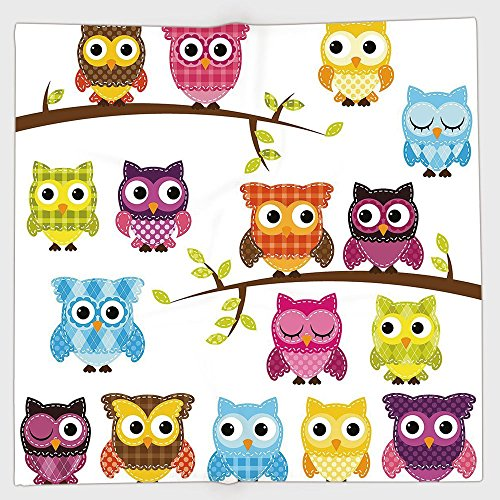 iPrint Polyester Bandana Headband Scarves Headwrap,Nursery,Set of Patchwork Quilt Style Owls on Branches with Green Leaves Bird Mascots Print,Multicolor,for Women Men