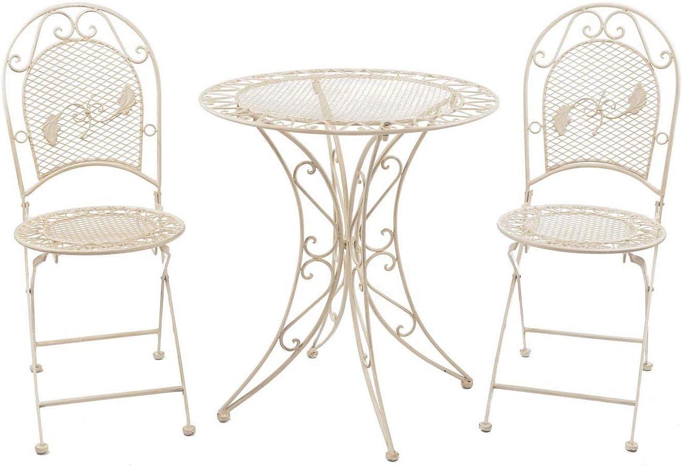 Conjunto Mesa y 2 sillas de Hierro Muebles de jardín de Estilo Antiguo