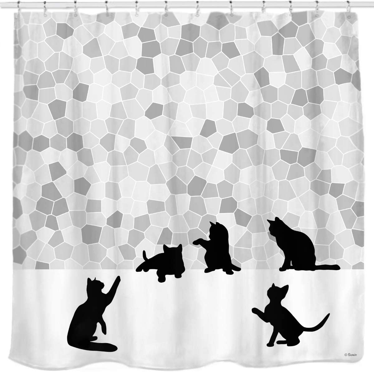 Halloween Shower Curtain Black Cat Vintage Print for Bathroom