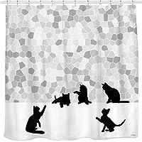 Sunlit Cortina de ducha de tela con diseño de gato negro y mosaico gris, gris y blanco