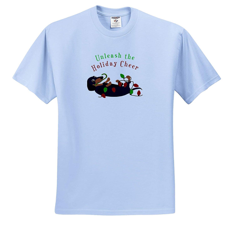 Adult T-Shirt XL Unleash The Holiday Cheer ts/_310738 3dRose Janna Salak Designs Christmas Cute Dachshund