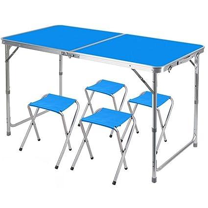 0bc3ad28fa74 Amazon.com : Aobeau Outdoor Portable Picnic Aluminum Folding Table 3 ...