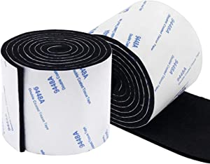 GINOYA 1.97inch Furniture Pads Roll, 3.28ft x 2pcs Self Adhesive Felt Strips for Hardwood Floors to Prevent Scratches Soundproofing (Black)