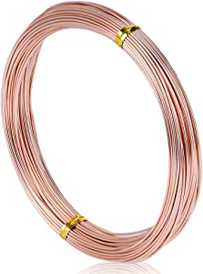 WUBOECE 65.6 Feet 18 Gauge Aluminum Wire, Soft Metal Craft Wire for Sculpting Armature Garden DIY Crafts Making, Copper