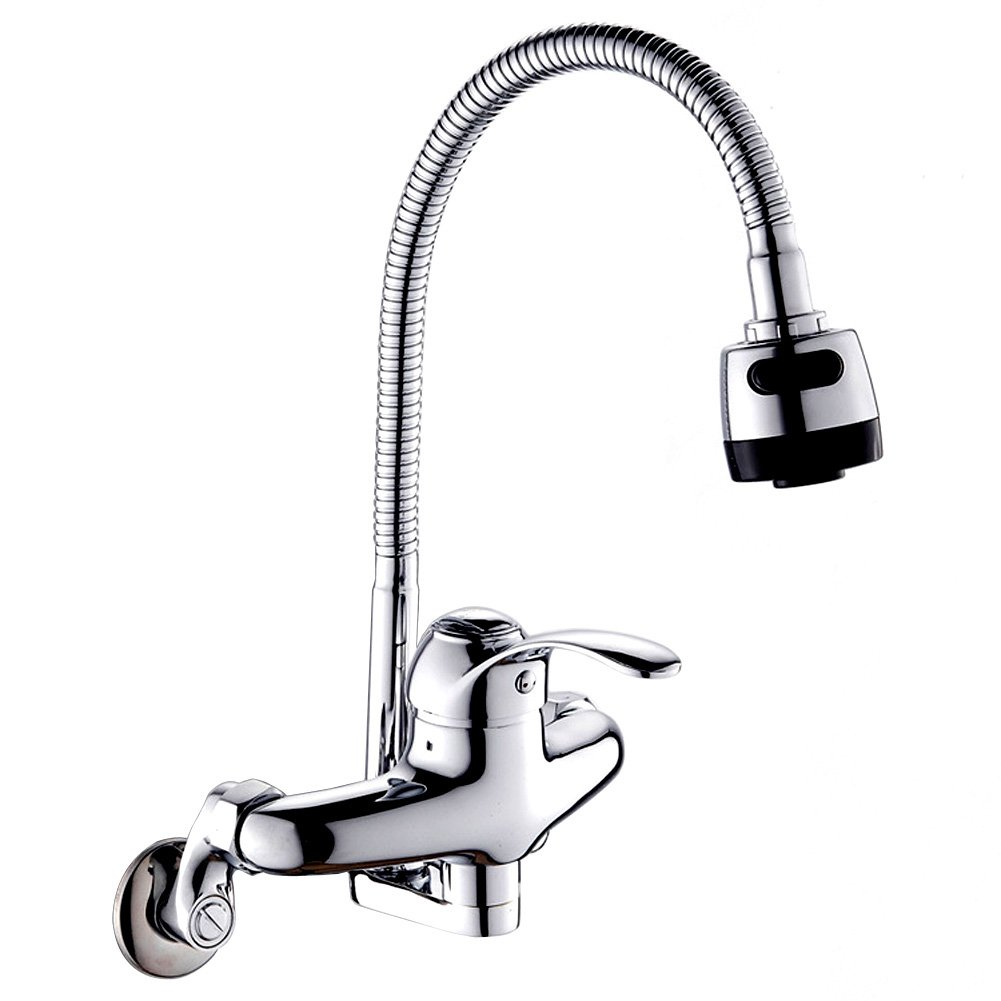Wall Mount Kitchen Sink Faucet 8inch center with Spray Single Handle Pull Down Commercial Bar Faucet Chrome Mixer Tap 360 Degree Swivel Spray Head Adjustable Hot And Cold Water