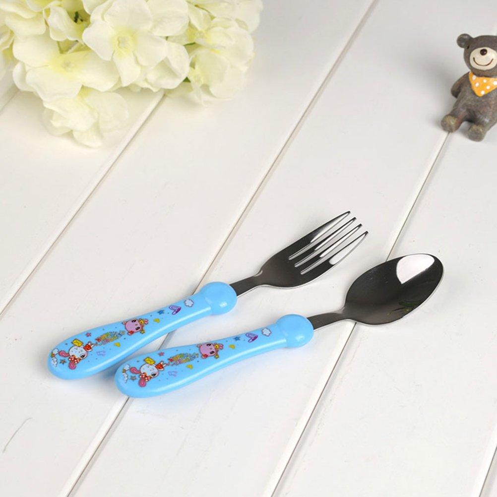 Rosa ounona Set di cucchiaio e forchetta per bambini Set di posate in acciaio inox per bambini con manico da pascolo