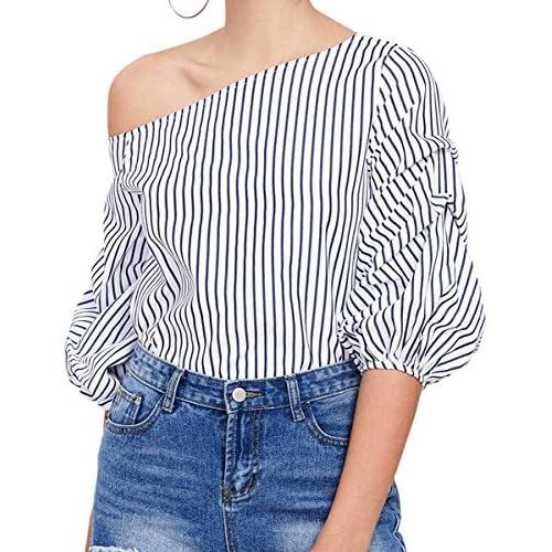 e04e93237113 Romwe Women s Off Shoulder 3 4 Sleeve Striped Shirt Blouse Top ...