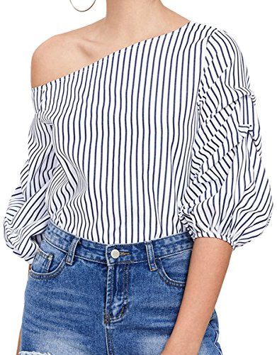 Romwe Women's Off Shoulder 3/4 Sleeve Striped Shirt Blouse Top Navy L (3/4 Sleeve Shirt Striped)