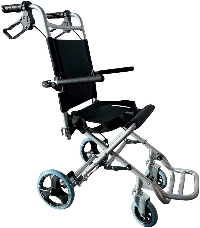 Mobiclinic, Modelo Neptuno, Silla de ruedas ortopédica, de tránsito, para minuválidos, plegable, aluminio, freno en manetas, reposapiés plegables, reposabrazos abatibles, asiento, ultraligera, negro