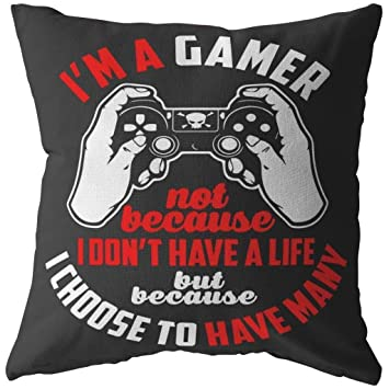 Amazon.com: ODDITEES Funny Gaming Pillows Im A Gamer Not ...
