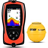 Luckylaker Portable Fishing Sonar Fish Finder Sensor 45M Water Depth High Definition LCD Screen Echo Sounder Fishfinder with Fish Attractive lamp