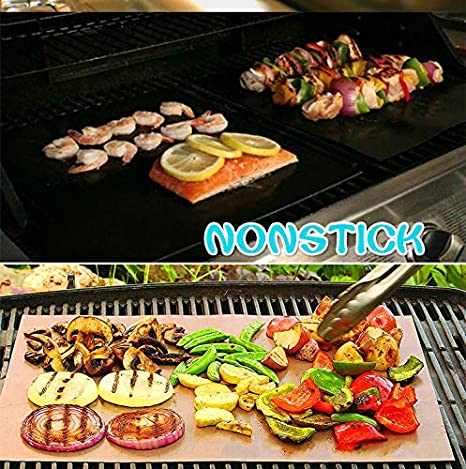TingNa Grill Mat-Set of 2 Heavy Duty BBQ Grill Mats-Teflon high Temperature Resistance Barbecue Grill Accessory and Easy to Clean Reusable Nonstick Black