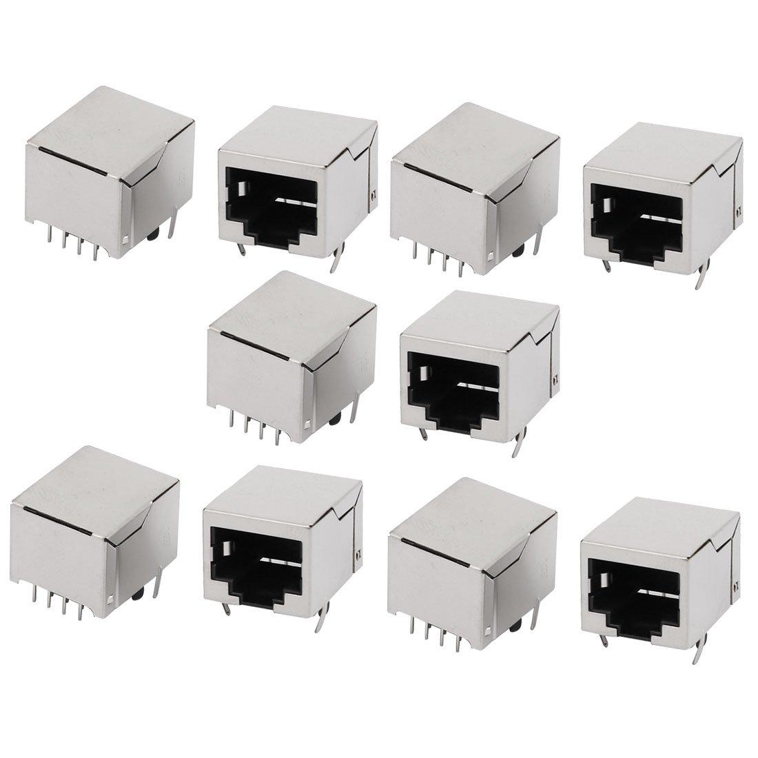sourcing map Connecteur RJ45 8P8C femelle jack modulaire Mont/é carte r/éseau Ethernet 10pcs