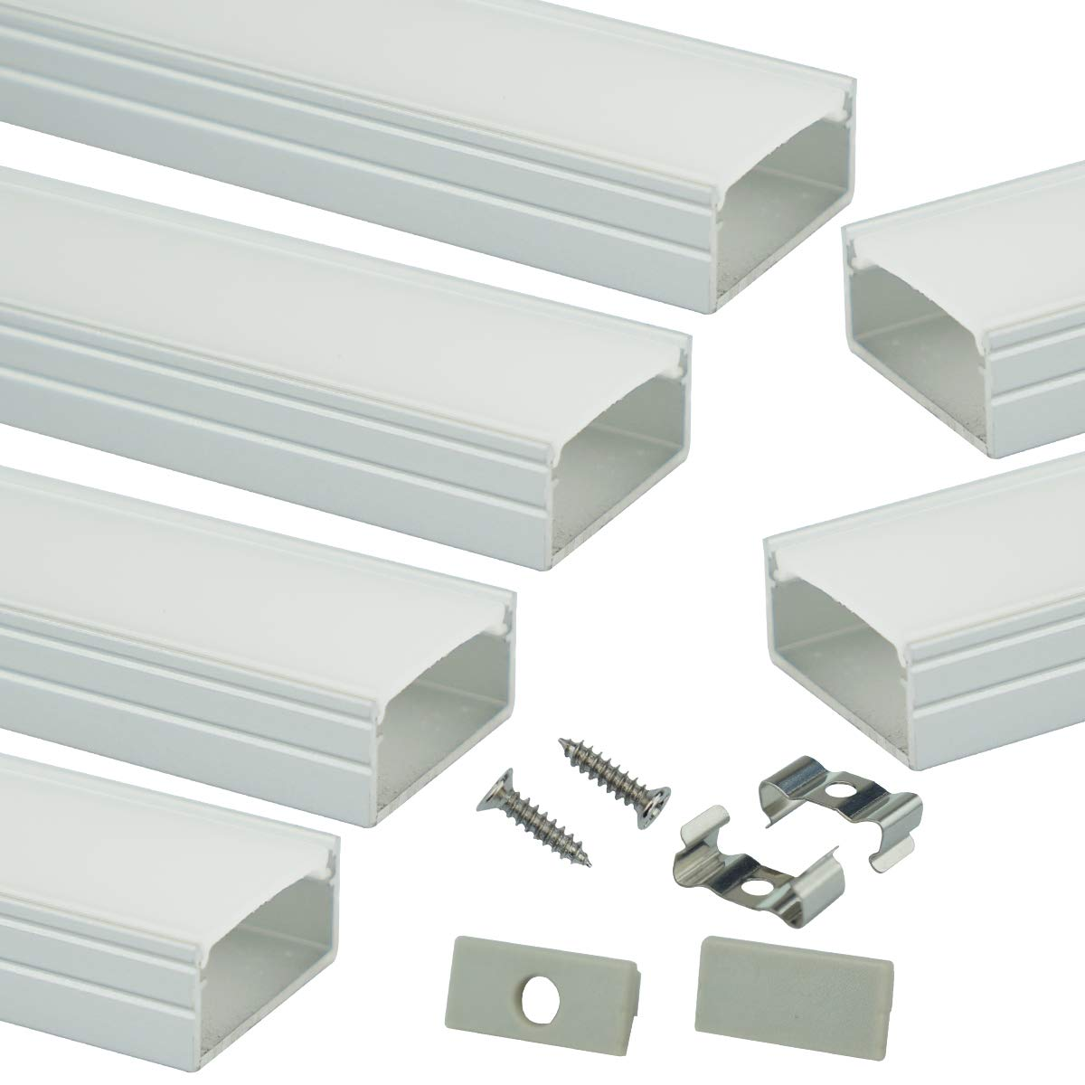 Muzata LED Channel System with Milky White Cover,16mm Super Wide Aluminum Extrusion Profile Track Diffuser for Tape Strip Light Philips Hue Plus with Video,U Shape,6Pack 3.3Ft U102,Series LU2 LP1