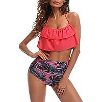 Bikini Sexy de Mujer, Biquini Impreso, traje de baño conjunto sujetador y pantalones cortos de cintura alta, traje de baño de playa