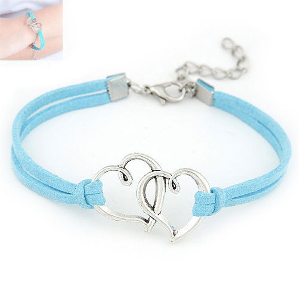 Yoyorule Women Love Heart Handmade Alloy Rope Charm Jewelry Weave Bracelet (Blue)
