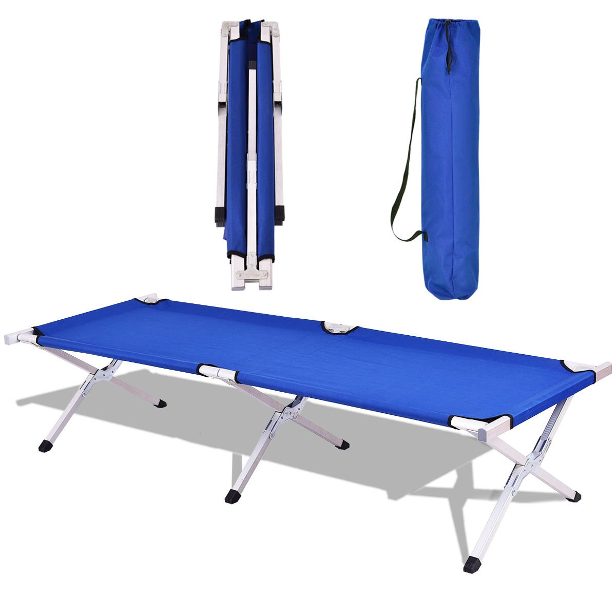 Goplus Heavy Duty Foldable Camping Cot Portable Military Bed Hiking Travel W/Carrying Bag (Blue) by Goplus