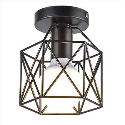 Hines Lámpara de techo de cristal industrial de época Metal Loft blanco Lámpara de techo Pantalla ...
