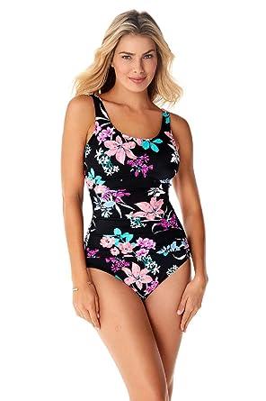 d9c46867def Penbrooke Garden Lily Mastectomy Empire Mio One Piece Swimsuit,Black,14