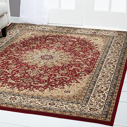 Home Dynamix Regency Sabine Area Rug | Traditional Living Room Rug | Classic Medallion Center and Printed Boarder | Ivory, Red, Beige 23