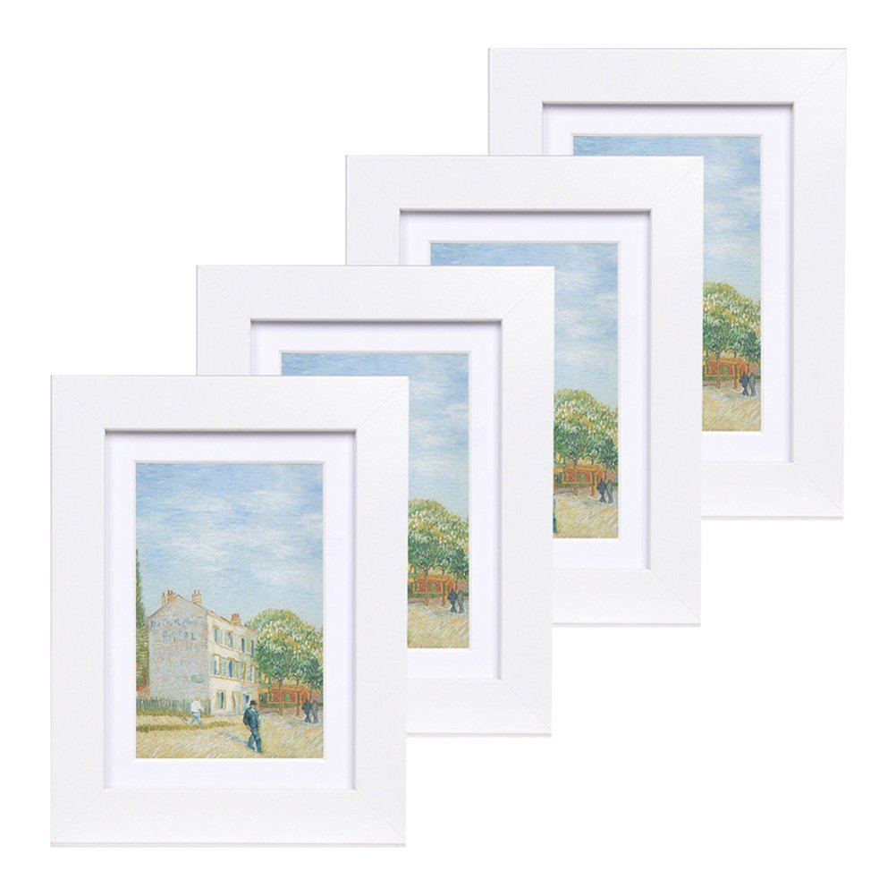 Muzilife 5x7 Wood Picture Frame - Flat Profile - Set of 4 - for Picture 4x6 with Mat or 5x7 without Mat (white-Glass)