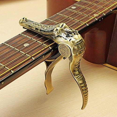 Capodastre à changement rapide doré en forme de crocodile pour guitare électrique, acoustique, banjo, ukulélé Silenceban