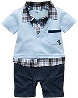 Waboats Bambino Baby Boy Plaid Vestiti Rampicanti Pagliaccetto Bavero