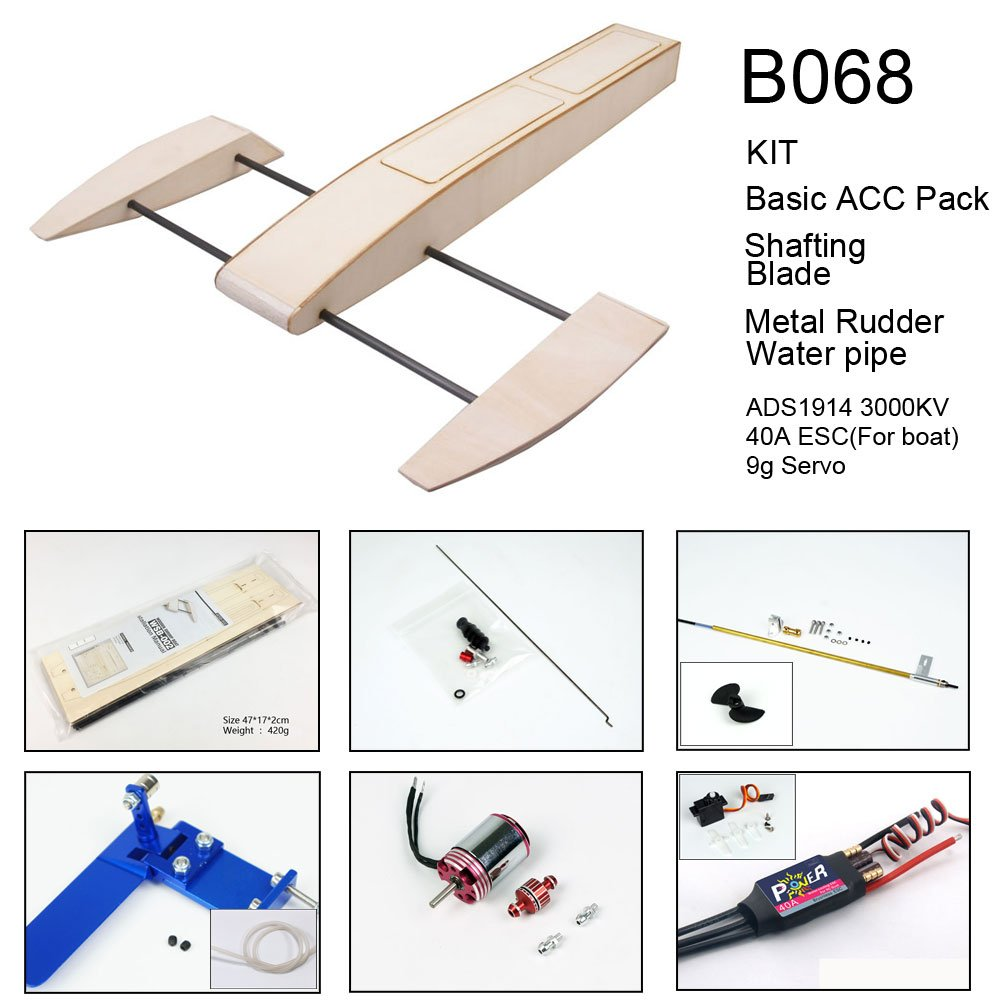 Dancing Wings Hobby Rc Outrigger Shrimp Boat Wooden 495mm Sponson Race Boat Kit To Build For Adults B068