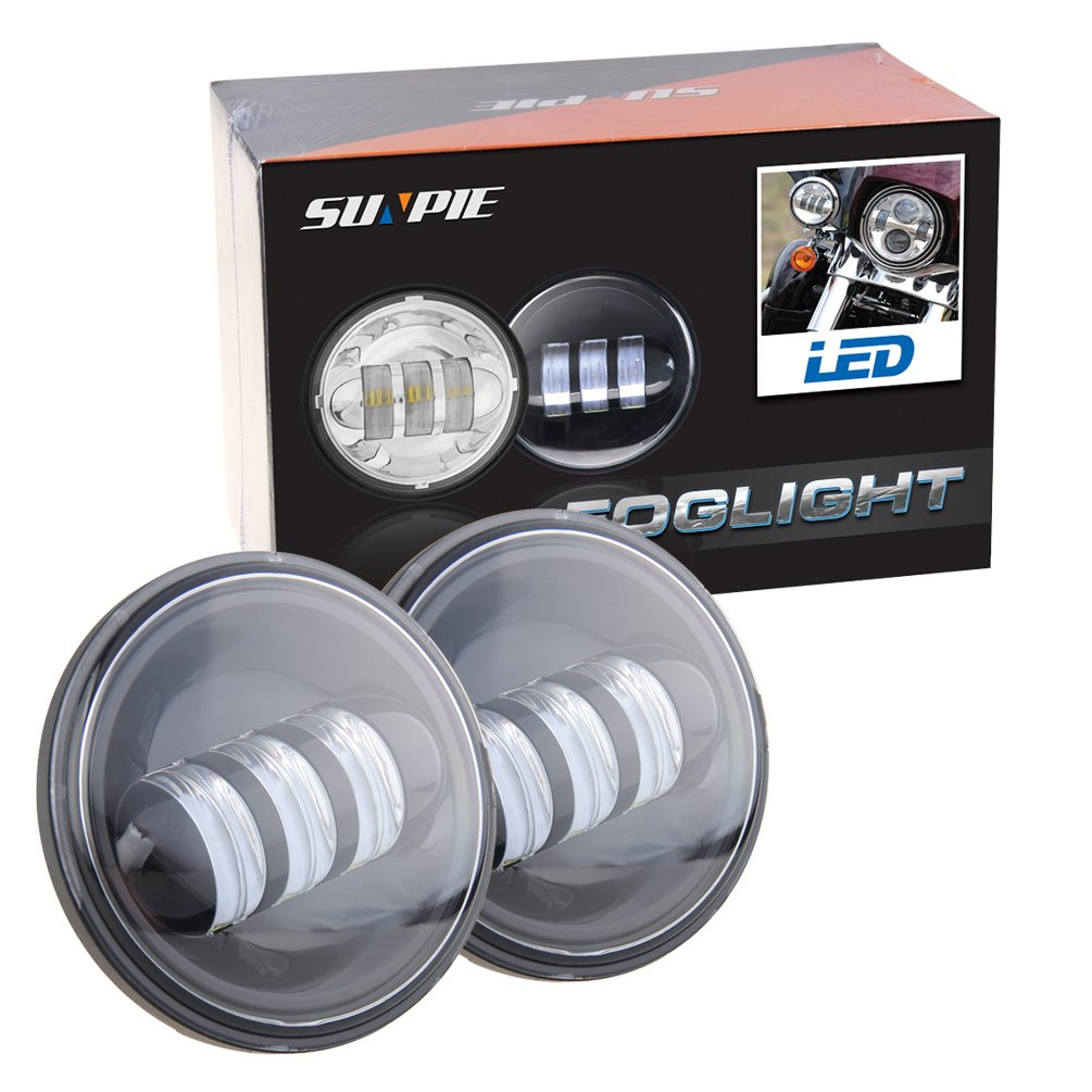 4-1/2'' 4.5 inch LED Passing Light for Harley Davidson Fog Lights Auxiliary Lamp Bulb Motorcycle Projector Spot Driving Lamp Headlight Black
