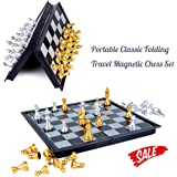 HoveBeaty Chess Set Portable Classic Folding Travel Magnetic Chess Set Aluminum Plating, 9.7 x 9.7 x 0.8 inch