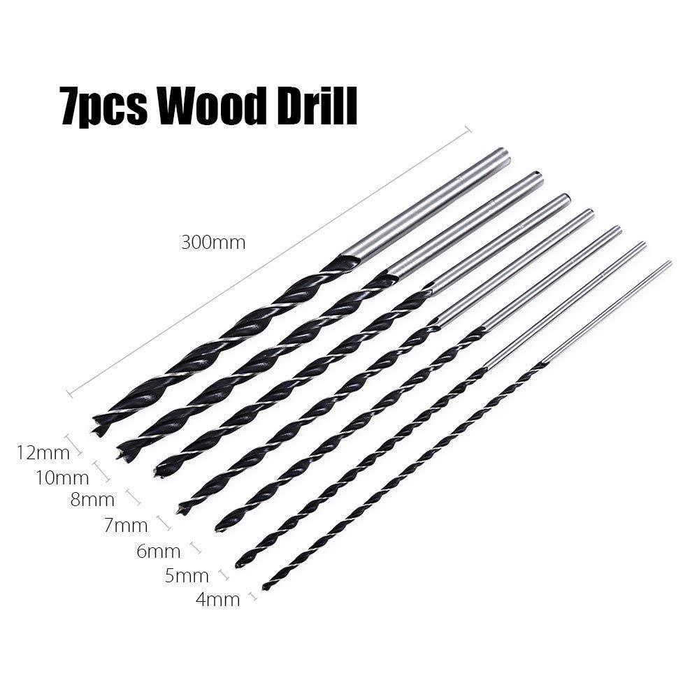 Drill Bit Set 7pcs 300mm Extra Long High-Carbon Steel Three Point Woodworking Drill XIAOWANG