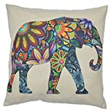 "WayHomeDecor Cotton Linen Decorative Throw Pillow Case Cushion Cover Cute Elephant 18"" X18"