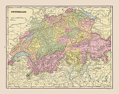 MAPS OF THE PAST International Map - Switzerland - Cram 1892-29.04 x 23 - Matte Art Paper