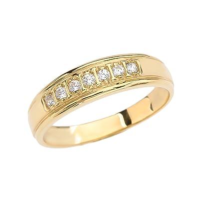 10k Yellow Gold Diamond Wedding Band For Him Size 6