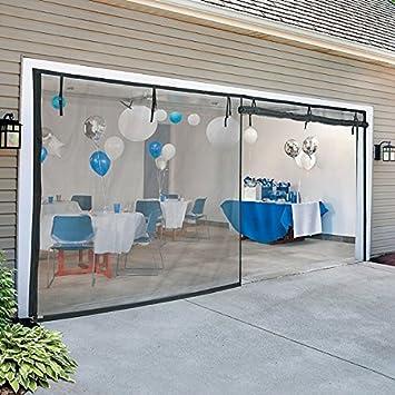Flexible Fiberglass Removable Zippered Garage Door Screen 12 Foot Wide
