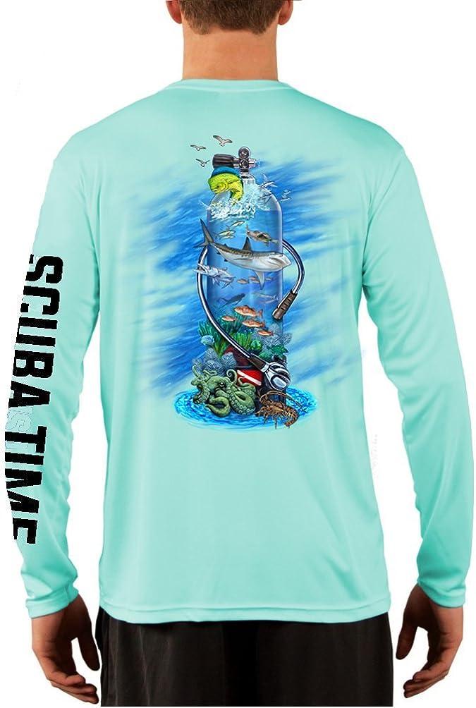 GAMEFISH USA UPF 50 Long Sleeve Microfiber Moisture Wicking Performance Fishing Shirt Scuba Diving Tank