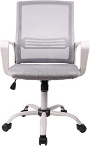 SMUGDESK Home Office Chair Ergonomic Mid Back Mesh Lumbar Support Armrest Executive Rolling Swivel Computer Desk, Grey