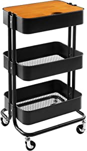 MATICO 3 Tier Metal Detachable Storage Side Table with Wheels, Household Multifunctional Rolling Utility Cart with Board, Black