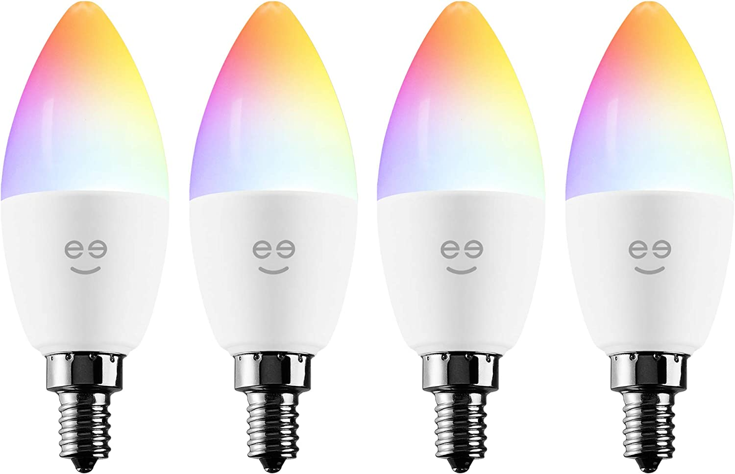 Geeni Prisma Plus Candle Wi-Fi LED Smart Bulb, B11 Candelabra, 4W, E12 Base 350lm Tunable and Dimmable RGB Bulb, Compatible with Alexa and The Google Assistant, No Hub Required (4 Pack)