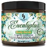 Huge - 16 Oz Organic EUCALYPTUS Dead Sea Salt Body Scrub, Excellent Exfoliating Body Scrub - 100% Pure Sea Salt Scrub, Excellent Hydrating, Exfoliation & Moisturizing Properties