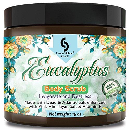 Huge - 16 Oz Organic EUCALYPTUS Dead Sea Salt Body Scrub, Excellent Exfoliating Body Scrub - 100% Pure Sea Salt Scrub, Excellent Hydrating, Exfoliation & Moisturizing Properties by Cavin Schon