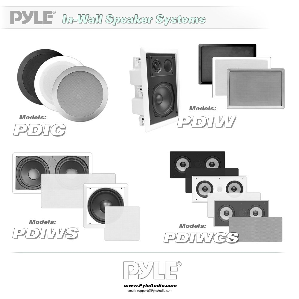 Pyle PDIW65 In-Wall/In-Ceiling 6.5-Inch Stereo Speakers, 2-Way, Flush Mount, White (Pair) by Pyle