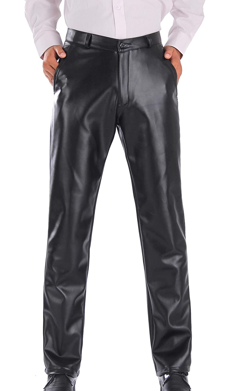 TALLA Talla EU 44 / Cintura:94cm. Duolunjindun - Pantalones Largos de Piel para Hombre Otoño Invierno Cálido Negro Hombre Pantalón de Cuero Largo con Forro Suave Caliente Resistente al Agua