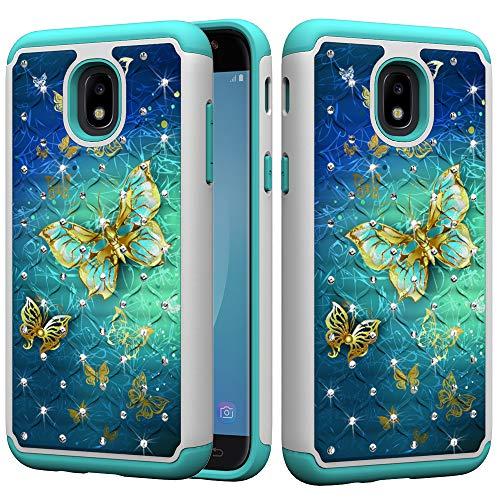 Samsung Galaxy J3 2018/Galaxy Express Prime 3/J3 V 3rd Gen/J3 Star/J3 Orbit/J3 Achieve/J3 Prime 2/Amp Prime 3 Case, UZER Dual Layer Sparkle 3D Diamond Bling Rhinestone Painted Series Case for J3 2018